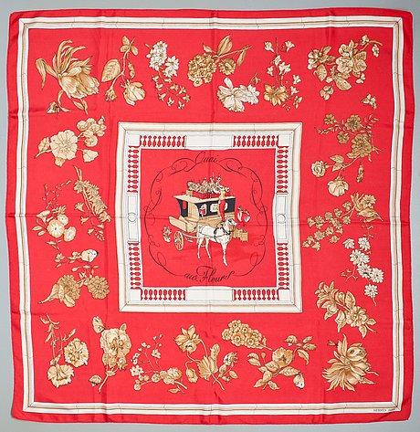 """A hermès silk scarf """"quai aux fleures""""."""