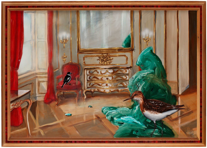 Ernst billgren, vardagsrum med svartvit flugsnappare och snäppa ...