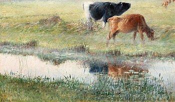 """12. Nils Kreuger, """"Tjur och ko vid Snärjebäcken"""", Knapegård (Bull and cow by Snärjebäcken, Knapegård)."""