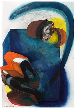 178. OLLE BONNIÉR, Komposition i blått och orange.