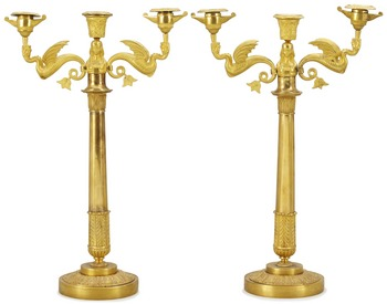 1024. A pair of Empire three-light candelabra, probably Sweden.
