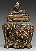 A massive japanese jar with cover, ca 1900.