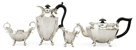 An english four pieces coffee- and tea-set, alfred clark, london 1905.