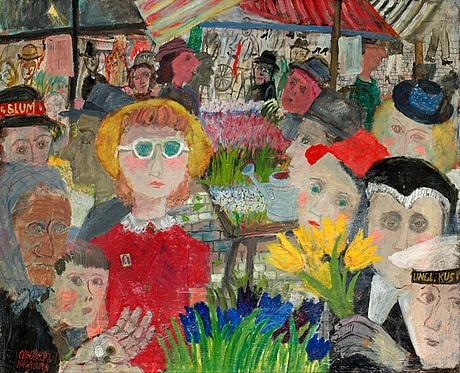 Olle olsson-hagalund, blomstermarknad i hagalund.