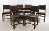 Matsalsgrupp, 7 delar. 1930/40-tal. bord samt stolar, 6 st.