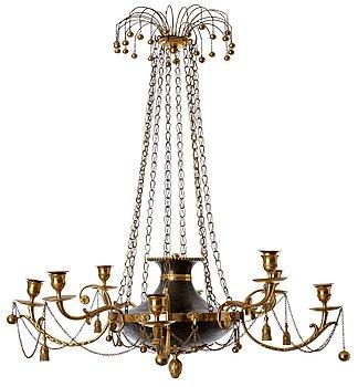 1017. A Swedish 19th century eight-light hanging lamp.