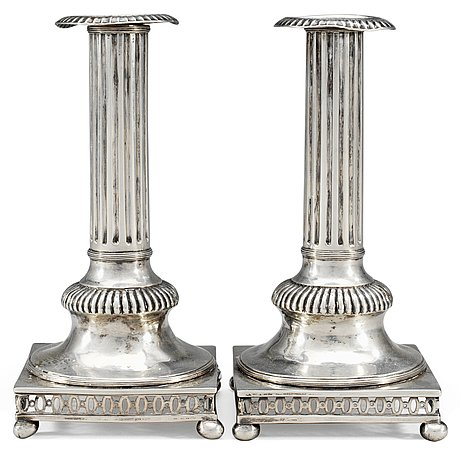 A pair of swedish 18th cent silver candlesticks, marks of a.floberg, stockholm 1796.