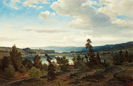 Axel nordgren, landscape with lake.