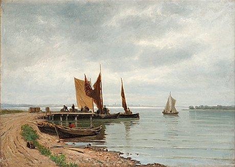 Carl gabriel adelsköld, coastline with fishing boats.