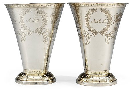 A pair of swedish 19th cent silver wedding beakers, marks of johan petter hedman, norrköping 1840.