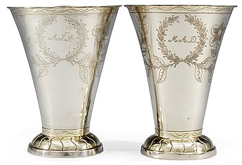 6. A pair of Swedish 19th cent silver wedding beakers, marks of Johan Petter Hedman, Norrköping 1840.