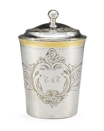 A swedish 19th cent silver beaker and cover, marks of  carl gustaf herpel stockholm 1817 and stefan westerstråhle 1801.