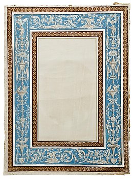 1122. Fourteen pieces of late Gustavian wall covers of painted canvas.