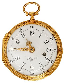"""1113. A French 18th century pocket watch by Lepaute, dial face marked """"Lepaute"""" clockwork marked """"Lepaute No 428 au Luxembourgs""""."""