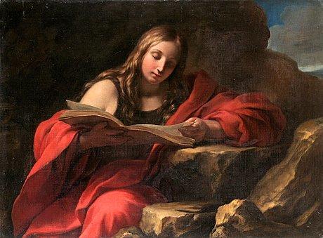 Francesco trevisani tillskriven, läsande apostel.