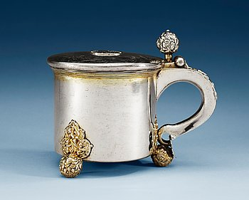 788. A SWEDISH PARCEL-GILT TANKARD, Makers mark of Johan Nützel, Stockholm (1676-1715) befor 1689.