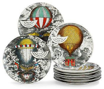 9. A set of nine Piero Fornasetti 'Mongolfiere' plates, Milan, Italy.