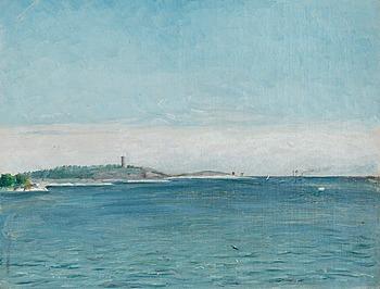 137. AUGUST STRINDBERG, Landskap från Sandhamn med Korsö fyr, 1873.