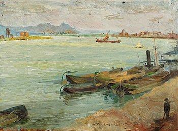 8. HELMER OSSLUND, Flodlandskap från Rhen.