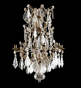 1012. A Rococo six-light chandelier.