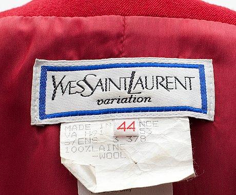 A two-piece yves saint laurent suit, variation 1991.