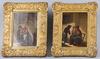 OkÄnd konstnÄr, 2 st, kopior i a. van ostades art, olja på pannå, 1800-tal.