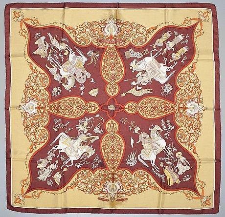 """A hermès silk scarf, """"poésie persane""""."""