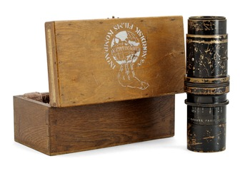 "CAMERA LENS. Krauss, Paris. No 159206. Tessar Zeiss 1: 3,5 F 21 cm. Later casket marked: ""Nordisk Film Kompagni""."
