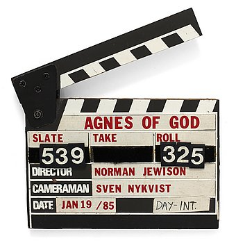 "CLAPPER BOARD from the movie ""Agnes of God"", USA 1985. Director: Norman Jewison."