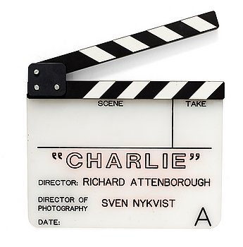 "CLAPPER BOARD from the movie ""Chaplin"", USA 1992. Director: Richard Attenborough. Including a photography depicting  Bob Stilwell, Oscar Beu..."
