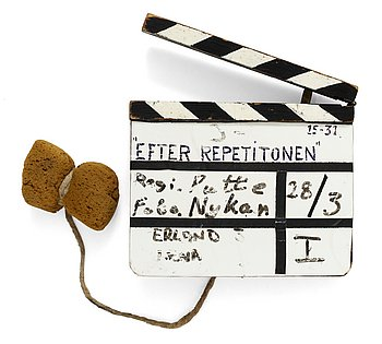 "CLAPPER BOARD from the movie-making of the tv-production ""After the rehearsal"".,Sweden 1983. Director: Ingmar Bergman. Including an original spunge on a string."