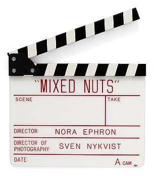 "CLAPPER BOARD from the movie-making of the movie ""Mixed nuts"", USA 1994. Director: Nora Ephron."