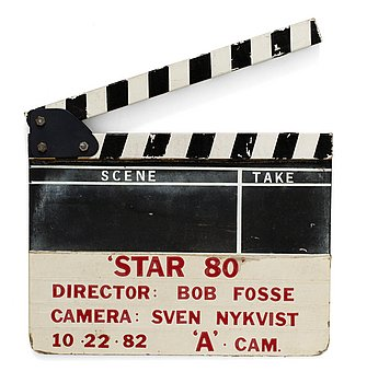 "CLAPPER BOARD from the movie-making of the movie ""Star 80"", USA 1983. Director: Bob Fosse."