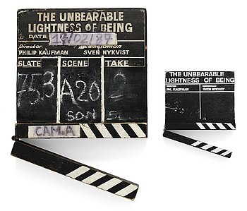 "CLAPPER BOARDS, 2 pieces, from the movie-making of the movie ""The unbearable lightness of being"", USA 1988. Director: Philip Kaufman."