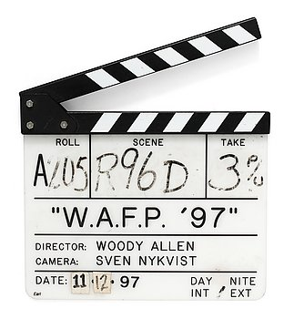 "CLAPPER BOARD from the movie-making of the movie ""W.A.F.P 97"", Celebrity life, USA 1997. Director: Woody Allen."