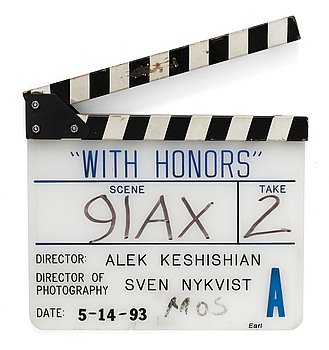 "CLAPPER BOARD from the movie-making of the movie ""With Honors"", USA 1993. Director: Alek Keshishian. Dated 5-14-93."