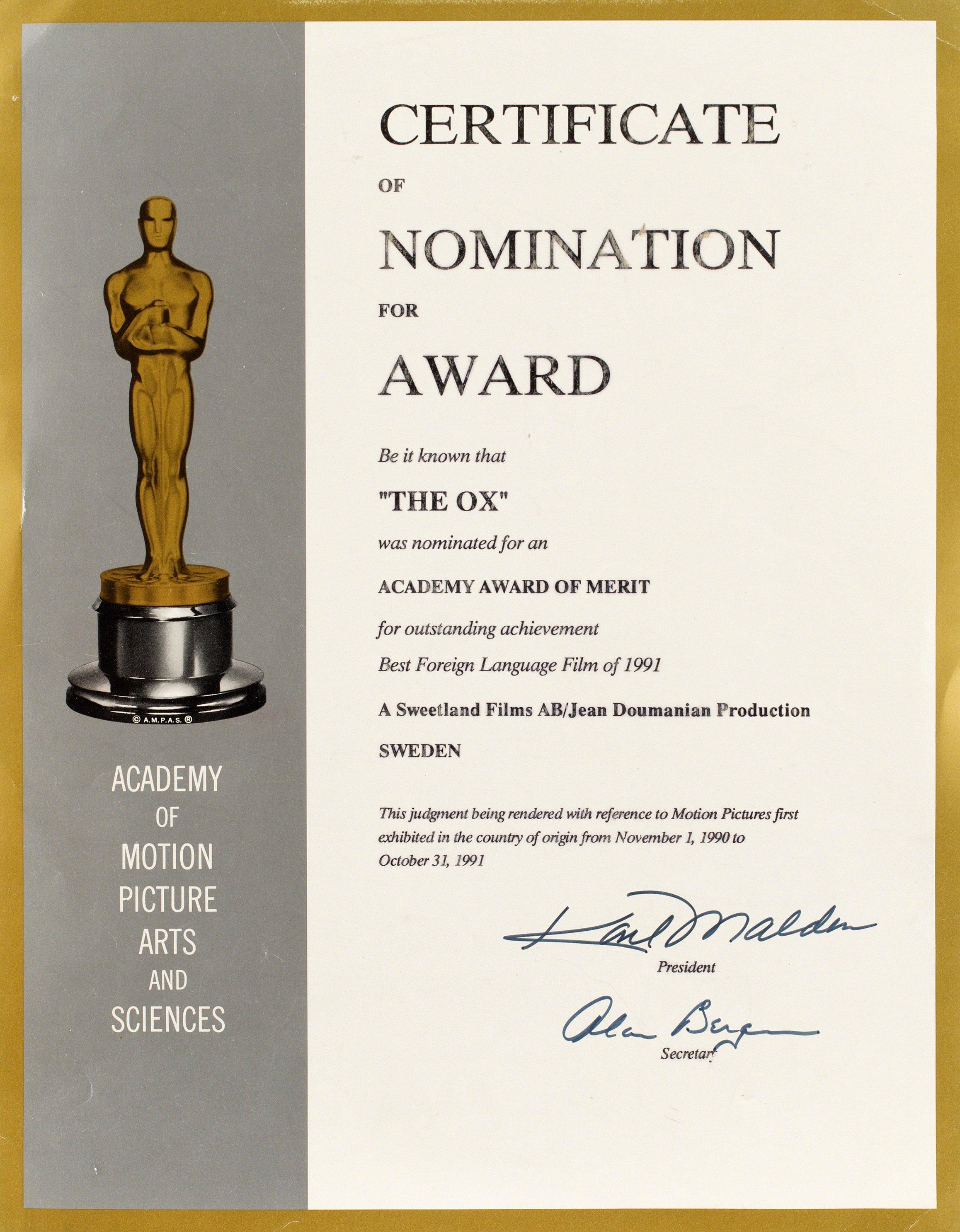 Certificate Of Nomination Bukowskis