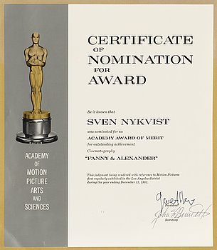"CERTIFICATE OF NOMINATION, for an Oscar award 1984, for ""Fanny & Alexander"", director..."