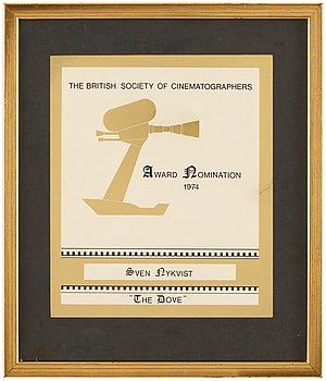"CERTIFICATE OF NOMINATION, The British Society of Cinematographers 1974, for ""The Dov..."