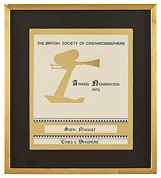 "CERTIFICATE OF NOMINATION 1973, The British Society of Cinematographers. For ""Cries and Whispers"", director: Ingmar Bergman."