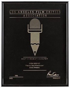 "DIPLOMA, Best Cinematography 1983. Los Angeles Film Critics Association, for ""Fanny & Alexand..."