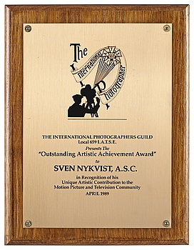 AN AWARD, Outstanding Artistics Achievement Award 1989. The International Photographers Guild Local 659 I.A.T.S.E....