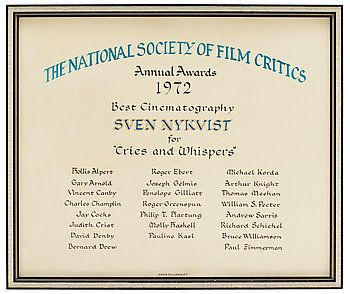 "DIPLOMA, Annual Awards 1972 Best Cinematography. The National Society of film Critics, for ""Cries and Whisp..."