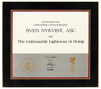 "A NOMINATION PLAQUE, from American Society of Cinematographers. 1988. For "" The  Unbearable Lightness of Being"", director: Phili..."