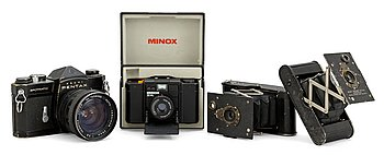 "CAMERAS, 4 pieces, Minox 35 ML, Pentax ""Spotmagic"" and two Kodak ""Vest pocket..."