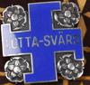 Skrin samt brosch, trä resp silver, finland, 1940-tal.