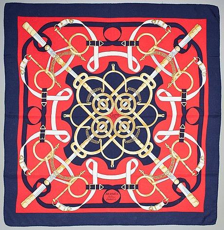"A hermès silk scarf, ""eperon d'or""."
