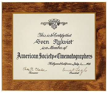 CERTIFICAT OF MEMBERSHIP, American Society of Cinematographers (ASC) 1974.