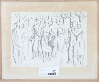 """WALDEMAR LORENTZON, teckning, sign o dat """"1926""""."""