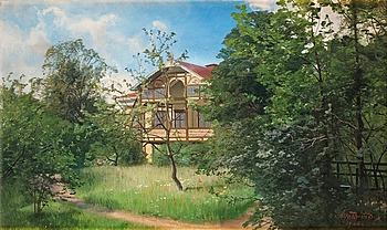 417. ALFRED THÖRNE, House in leafy garden.